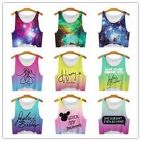 Wholesale Tee Shirt Tanks For Women - 2017 New Women T Shirt hemp leaf tanks Camis crop Tops Emoji   Girl Print galaxy T-shirt female Casual Tee Tops For Women Blusas