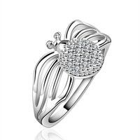 Wholesale Spiders Rings Jewelry - Wholesale women new fashion 925 sterling silver band AAA CZ Ring Crystal Spider Rings Jewelry Size 7 8 R588