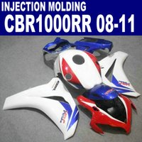 Wholesale Motorcycle Parts For Honda - Injection molding ABS motorcycle parts for HONDA fairings CBR1000RR 2008-2011 CBR1000 RR white red blue fairing kit 08 09 10 11 #U72