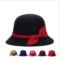 Wholesale Popular Wedding Dress Designers - Fashion Designer Elegant Fedoras Derby Hat With Bow For Women Popular Dress Church Hats Ladies Formal Wedding Honey Bucket Cap
