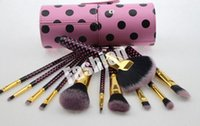 Wholesale Bh Cosmetics Brushes - Factory Direct 2016 New Makeup Brushes BH Cosmetics 11 Pieces Brush With Cup Holder Case Black Pink DHL