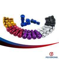 Wholesale Valve Caps Gold - PQY RACING-4 RAYS VOLK RACING FORGED ALUMINUM VALVE STEM CAPS WHEELS RIMS UNIVERSAL Blue Silver Black Golden Red Black PQY-WR11
