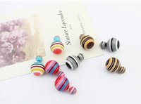 Wholesale Celebrity Brand Jewelry - 12pairs HOT Fashion New Multicolor Celebrity Double Round Ball Beads Ear Plug Brand Earrings Women's Jewelry Drop Free