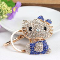 Wholesale Cute Butterfly Keychain - Butterfly Blue Hello Kitty Cat Cute Crystal Charm Purse Handbag Car Key Keyring Keychain Party Accessories Birthday Gift