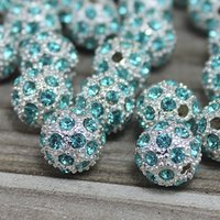 Charm Argent Plaqué Métal Aqua Blue Crystal Disco Ball Loose Strass Spacer Shamballa Bracelets Bead Jewelry Beading Supplies D680