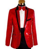 siyah resmi ceket mens toptan satış-Toptan-Beyaz siyah kırmızı pullu Şarkıcılar moda resmi elbise evlilik takımları smokin blazer erkek blazers set adam ceketler + pantolon M L XL