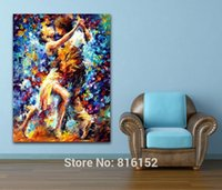 Wholesale Dance Oil Painting Canvas - Hot Couple Dance Palette Knife Oil Painting Printed On Canvas Modern Mural Art Hotel Cafe Wall Decor