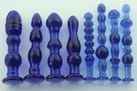 Wholesale Large Anal Stimulator - 1pcs Female large transparent blue crystal glass penis glass dick stick anal plug vaginal stick butt stimulator sex toys