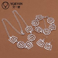 Wholesale Cheap Onyx - dS431 hot bulk sale cheap Sterling silver jewelry sets, free shipping 925 silver necklace bracelet earring set