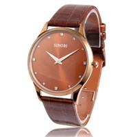 Wholesale Thin Waterproof Watches For Men - 2015 New SINOBI Watches, Luxury Brand Leather Strap Watch for Men Ultra-thin Quartz Analog Military Watch,Waterproof Wristwatch