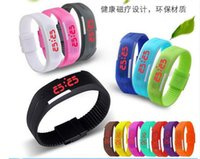 Wholesale Display 14 Led - hot sale 14 colors Sports Wristwatch led Digital Display touch screen watches Rubber belt silicone bracelets watch D569