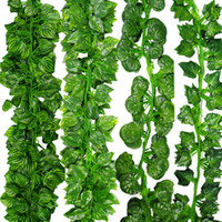 12pcs / Lot 2m Artificial Ivy Leaf Garland Plants Vine Fake Follaje Flores Plantas De Plástico Para Diy Decoración Envío Gratis