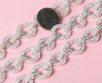 Bijoux En Argent Sterling Pas Cher-1 Yard Sparkle Rhinestones Ring Clasp Silver Plated Flatback Ribbon Chain Trim pour couture Craft Diy