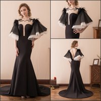 Sexy Meerjungfrau Schwarz Abendkleider Kleider Kurze Puffy Ärmel Backless Zug Satin Lager 2-16 Party Dress Prom Formal Pageant