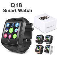 akıllı zil çağırıyor toptan satış-Q18 Akıllı İzle Android Akıllı Telefonlar için Bluetooth Akıllı saatler Destek SIM Kart Kamera Cevap Çağrı ve Set Çeşitli Dil Kutusu ile