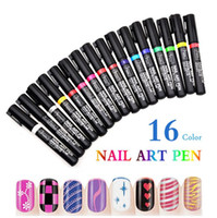 Wholesale 16 Nail Sticker - Hot Sale New Fashion 16 Colors Nail Art Pen Nails Painting DIY Drawing Line Pull Polish Painting Gel Stickers Decals Wholesale - 0063MU