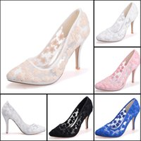 Wholesale Cheap Women Wedding Shoes - Lace White Pink Blue Ivory Wedding Dress Shoes 10 CM Pointed Toe Women Cocktail Evening Prom Street Fall Bridal Accessories 2015 Cheap