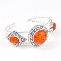 Wholesale Antique Sterling Bangle - Holiday Gift Shiny Crystal Fire Antique Amber Gemstone 925 Sterling Silver Plated Heart Bracelet Bangle Russia Bracelet Jewelry