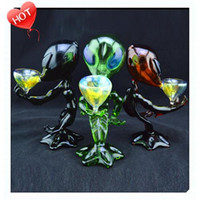 Wholesale alien black - Creative new Alien Glass Pipe Glass Smoking Pipes Glass Bong Mini Alien Shape Attractive Bowl Mens Smoking Pipes 7 inch Beautiful Portable