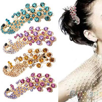 Wholesale Peacock Hair Barrettes - 2016 Hot Selling Fashion Peacock Full Crystal Rhinestones Hairpin Hair Clip Headwear Barrettes for Women 1NOT