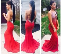 2016 Sexy Red Beaded Nixe Lange Prom Kleider Backless Open Back Schlüsselloch Hals Kristall Party Kleid Abendkleider Halter Graduation Kleider