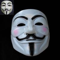Wholesale Horror Film Face Masks - Classic Trendy Film Revenge V Horror Masks Full Face For Men Women Party Masks Halloween Bauta Mask White Yellow New 10Pcs Lot