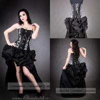 burlesque korse elbiseleri toptan satış-Özel Boyut Siyah ve Gri zincir Steampunk Burlesque korse ile tren yüksek düşük balo elbise punk ruffles gotik parti kıyafeti
