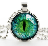 Wholesale Cat Eye Green Necklace - Wholesale Green Cat Eye Necklace - Colorful Art Jewelry Gift - Silver Glass Photo Pendant