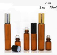 Wholesale perfume glass bottle gold cap - 3ml 5ml 10ml amber color glass bottles for essential oil with Gold and silver cap Perfumes and Lip Balms- Perfect Size for Travel