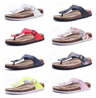 Wholesale Green Wood Floors - Free shipping 21 color New arrival summer woman men flats sandals Cork slippers unisex casual shoes print mixed colors flip flop size 35-43