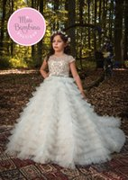 Wholesale kids party gowns designs - 2018 Unique Design Luxury Girls Pageant Dresses Jewel Lace Tiered Tulle Ivory Kids Flower Girls Dress Ball Gown Child Birthday Gowns Party