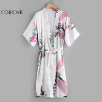 Wholesale Robe Blouse - COLROVIE Peacock Print Satin Kimono Robe With Belt 2017 Sexy V Neck Half Sleeve Night Blouse Women Casual Autumn Blouse q1113