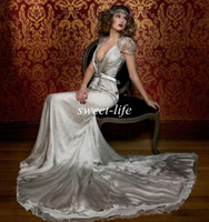 Wholesale Grey Wedding Dress Plus Size - Jenny Packham Vintage Wedding Dresses Cap Short Sleeves Vintage Lace V Neck Crystals Chapel Train Grey Satin 2016 Cheap Bridal Evening Gowns