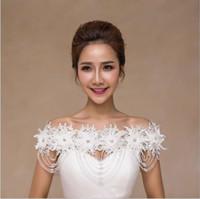 schulter brautkleider zubehör großhandel-Brides luxuriöse Schulterkette Deluxe Wasserbohrer Perlenkette ein Wort Schulter Brautkleid Kleid Zubehör Großhandel