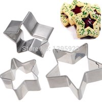 Wholesale Metal Cake Cutter - 3Pcs Lot Star Shape Cookie Pastry Cake Decorating Cutter Craft Metal Mold Tools Free Shipping