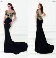 Wholesale Tarik Ediz Black Backless Dress - Crystals 2016 Tarik Ediz Arabic Evening Dresses Backless Mermaid Short Sleeves Evening Gowns Black Party Dresses