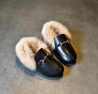 Wholesale Girls Shoes Rabbit - 2017 girls shoes New children's shoes for girls Genuine leather Leather shoes Rabbit hair EUR 21-37 Black red