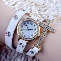 quarzuhr leder lang großhandel-2015 heiße neue koreanische Dame Fashion Watch einfache Kreuz Intarsien Strass lange Lederarmband Quarz Uhren Frauen Kleid Uhr SLO48