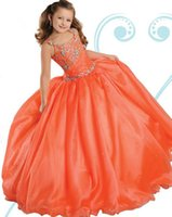 Wholesale Neon Green Pageant Dresses Girls - Ritzee girls 2016 Tangerine Neon Pink Royal Blue Square Lace-up Full-Length Ball Gown Girl's Pageant Dresses