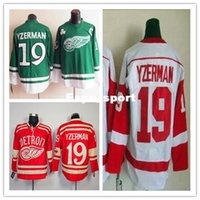 Wholesale Real Factory Outlet - Factory Outlet, NHL 2015 The real thing Detroit Red Wings #19 Steve Yzerman Ice Hockey Jersey Red Green White