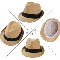Wholesale Mens Cowboy Straw Hats Wholesale - .Fashion Panama Straw Hats Womens and Mens Unisex Trilby Silk Hat Cap Summer Beach Sun Straw Hat Couples Lovers Hat 6 Colours