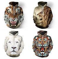 Wholesale Tie Dye Hoodies Fashion - Wholesale-Fashion tiger lion hooded shirts women men printed 3d hoodies Casual graphic hoodie funny Sweat shirt tie-dye Sweatshirt tops