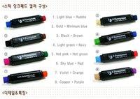 Wholesale Two Color Pens - Wholesale-Two-in-one two-color inkpad pen solventborne desk pen 8 combination