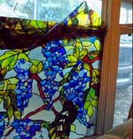 filmes foscos venda por atacado-3D Colorido Videira Videira Janela Filme Estático Cling Vidro Filme Não-adesivo Fosco Banheiro Vidro Da Janela Filme