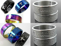 Wholesale Wholesale Ring Etching - 50pcs English LORD'S & etch Serenity Prayer stainless steel rings Wholesale Fashion Jewelry lots