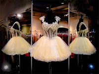 Wholesale mini quinceanera dresses - Short Prom Dresses 2015 Capped Exposed Boning Beads Quinceanera Dresses Evening Gowns Tiered Princess Customize Cocktail Party Dresses