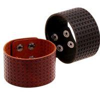 Wholesale Black Braided Cuff - Mens Fashion Braid Wide Bracelets Vintage Punk Leather Bangle Cowboy Cuff Wristband Surf Hiphop Jewelry Biker Bracelet Y078