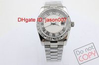 Wholesale Watch Numbers Face - Luxury Roman Number White Faces Diamond Deisgn Stainless Steel Watches Mens Automatic Mechanical Wristwatches For Men