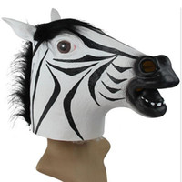 cabeça de fantasia do unicórnio venda por atacado-Atacado-Animal Cavalo Zebra Unicorn Head Mask Rubber Theatre Prop Teatro Halloween Costume