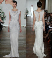 Wholesale Crepe Sheath Dress - Crepe Sheath Bridal Gowns with Beading Crystal Summer Beach Vestido De Novia Custom Wedding Gowns 2017 Jenny Packham Wedding Dresses 016